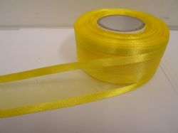 Canary bright Yellow satin edged organza ribbon, 2 or 25 metres, Double sided, 10mm, 15mm, 25mm, 40mm, 70mm